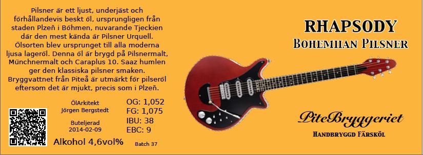 37 Rhapsody Bohemian Pilsner